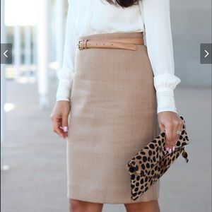 J Crew Double Serge Wool No 2 Pencil Skirt Beige